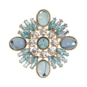 Blue stone and crystal gold tone fashion pin